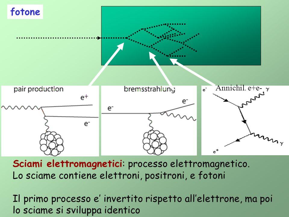 fotone Sciami elettromagnetici: processo elettromagnetico. Lo sciame contiene elettroni, positroni, e fotoni Il primo processo e invertito rispetto al