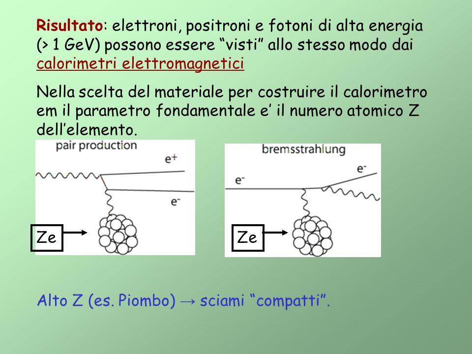 Risultato: elettroni, positroni e fotoni di alta energia (> 1 GeV) possono essere visti allo stesso modo dai calorimetri elettromagnetici Nella scelta