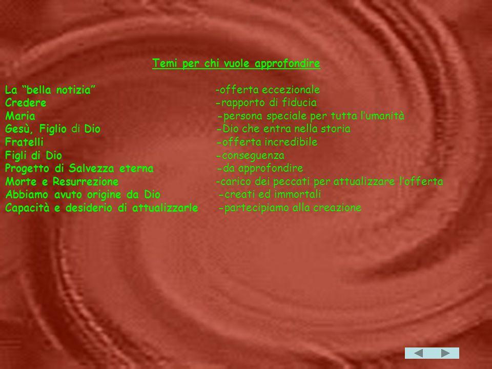 Temi per chi vuole approfondire La bella notizia -offerta eccezionale Credere -rapporto di fiducia Maria -persona speciale per tutta lumanità Gesù, Figlio di Dio -Dio che entra nella storia Fratelli -offerta incredibile Figli di Dio -conseguenza Progetto di Salvezza eterna -da approfondire Morte e Resurrezione -carico dei peccati per attualizzare lofferta Abbiamo avuto origine da Dio -creati ed immortali Capacità e desiderio di attualizzarle -partecipiamo alla creazione
