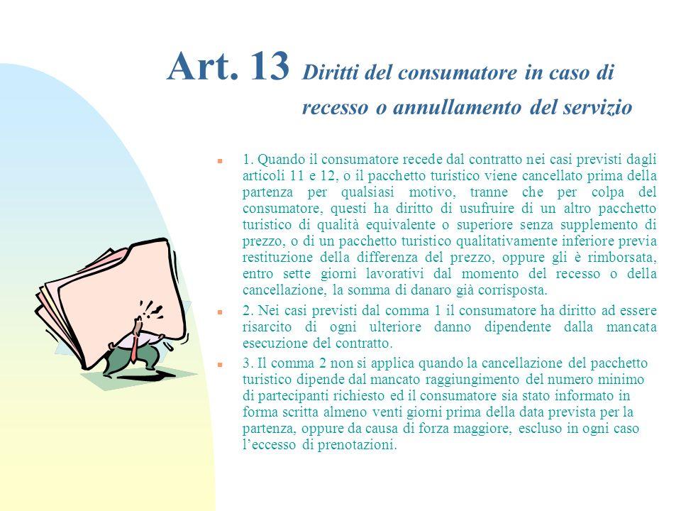 Art.13 Diritti del consumatore in caso di recesso o annullamento del servizio n 1.