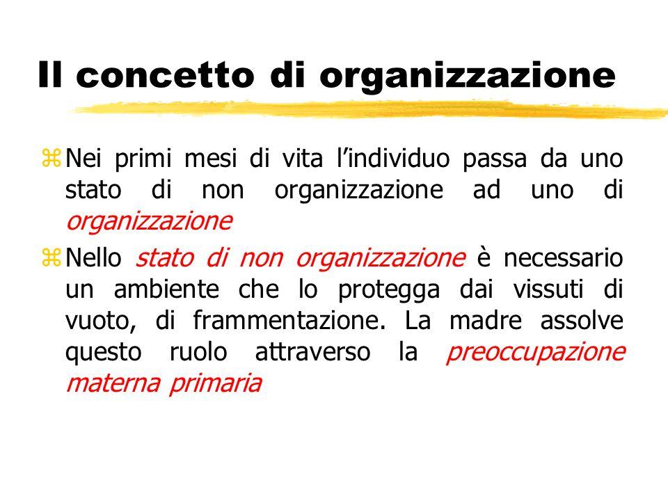 Il concetto di organizzazione zNei primi mesi di vita lindividuo passa da uno stato di non organizzazione ad uno di organizzazione zNello stato di non