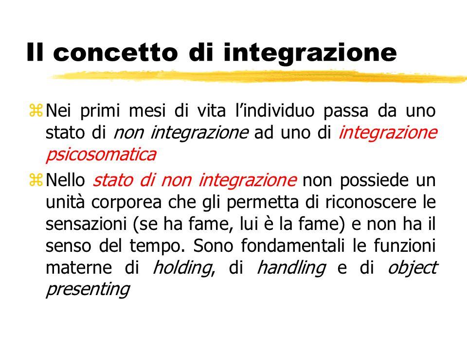 Il concetto di integrazione zNei primi mesi di vita lindividuo passa da uno stato di non integrazione ad uno di integrazione psicosomatica zNello stat