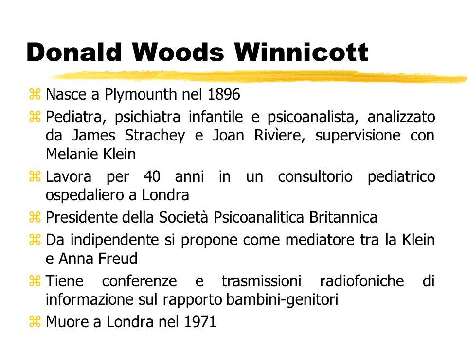 Donald Woods Winnicott zNasce a Plymounth nel 1896 zPediatra, psichiatra infantile e psicoanalista, analizzato da James Strachey e Joan Rivìere, super