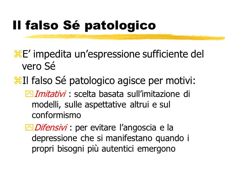 Il falso Sé patologico zE impedita unespressione sufficiente del vero Sé zIl falso Sé patologico agisce per motivi: yImitativi : scelta basata sullimi