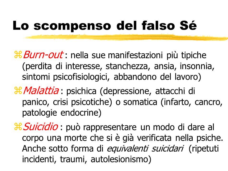 Lo scompenso del falso Sé zBurn-out : nella sue manifestazioni più tipiche (perdita di interesse, stanchezza, ansia, insonnia, sintomi psicofisiologic