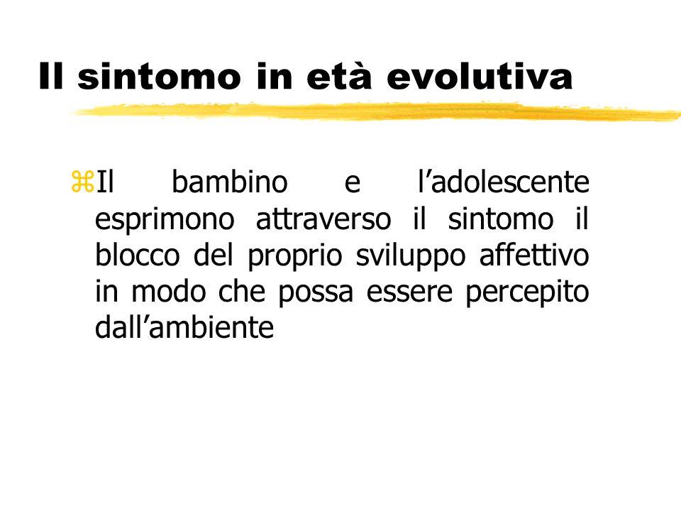 Il sintomo in età evolutiva zIl bambino e ladolescente esprimono attraverso il sintomo il blocco del proprio sviluppo affettivo in modo che possa esse