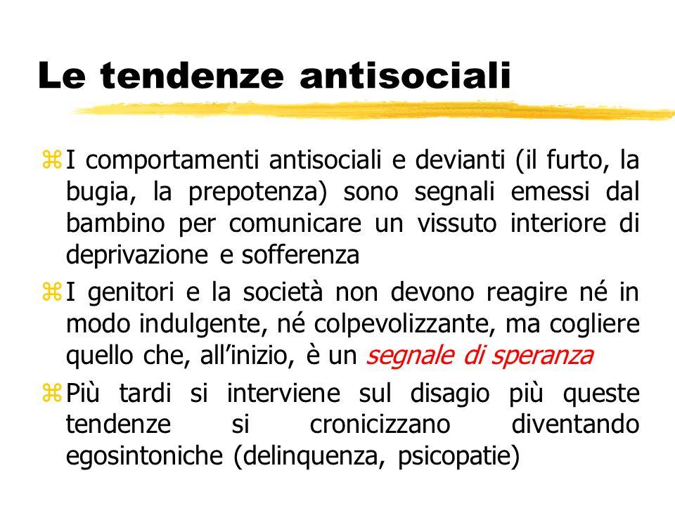 Le tendenze antisociali zI comportamenti antisociali e devianti (il furto, la bugia, la prepotenza) sono segnali emessi dal bambino per comunicare un