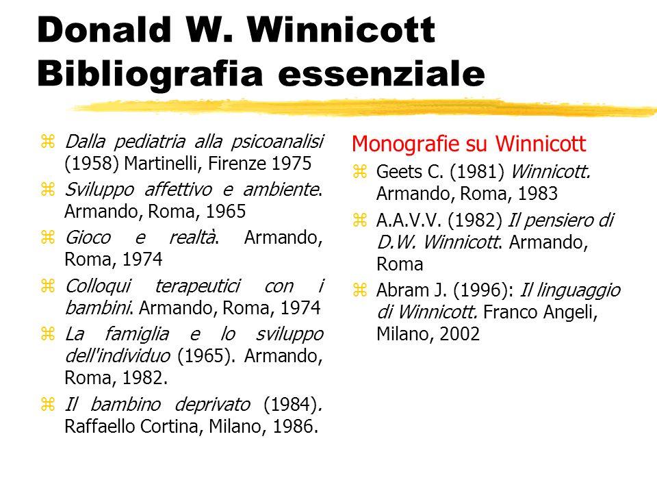 Donald W. Winnicott Bibliografia essenziale zDalla pediatria alla psicoanalisi (1958) Martinelli, Firenze 1975 zSviluppo affettivo e ambiente. Armando