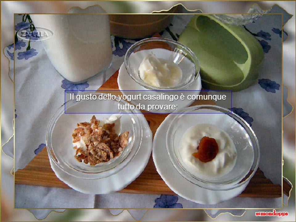Lo yogurt di soya viene ben sodo e cremoso e si può addizionare a piacere con fiocchi di cereali, ad esempio, miele, marmellata, ecc. E un gusto nuovo