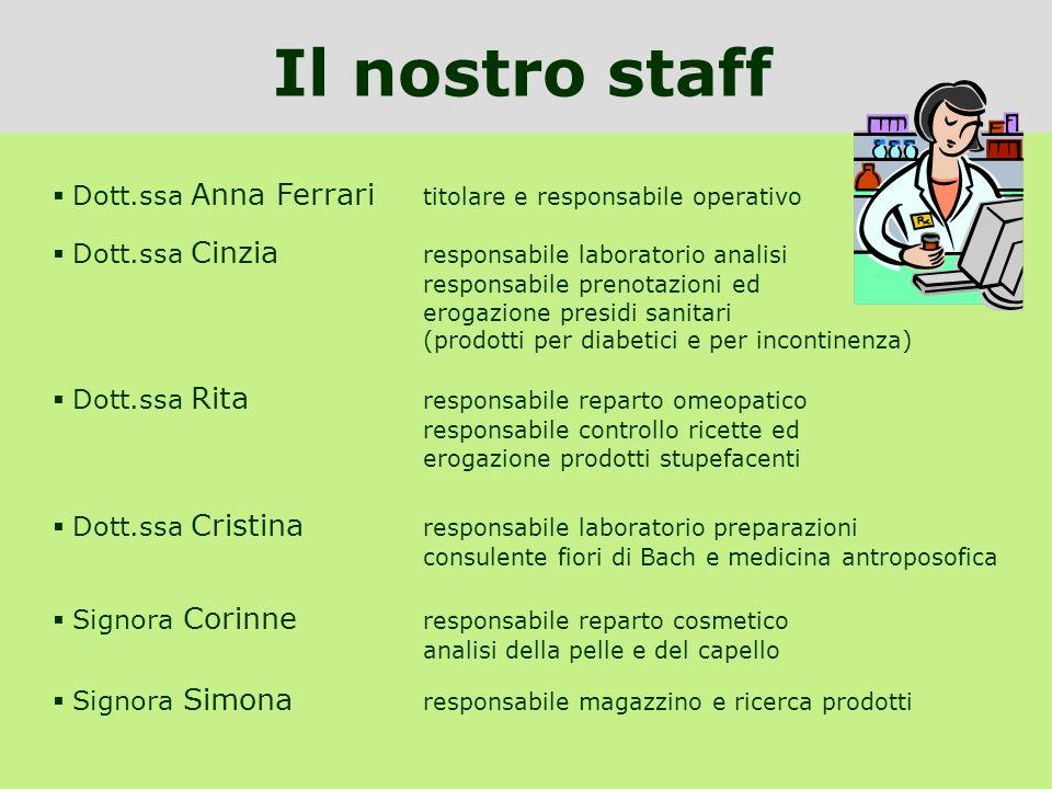 Dott.ssa Anna Ferrari titolare e responsabile operativo Il nostro staff Dott.ssa Cinzia responsabile laboratorio analisi responsabile prenotazioni ed