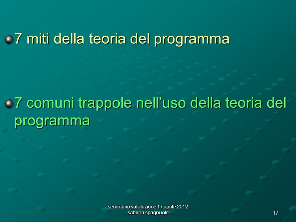 17 seminario valutazione 17 aprile 2012 sabrina spagnuolo 7 miti della teoria del programma 7 comuni trappole nelluso della teoria del programma