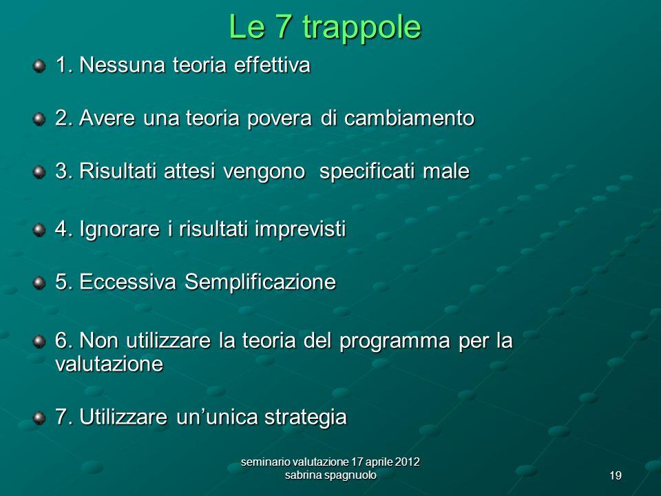 19 seminario valutazione 17 aprile 2012 sabrina spagnuolo Le 7 trappole 1.