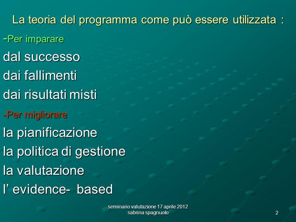 2 La teoria del programma come può essere utilizzata : - Per imparare dal successo dai fallimenti dai risultati misti -Per migliorare la pianificazione la politica di gestione la valutazione l evidence- based