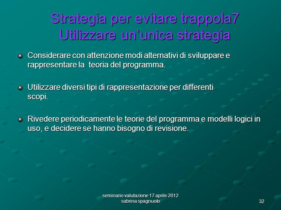 32 seminario valutazione 17 aprile 2012 sabrina spagnuolo Strategia per evitare trappola7 Utilizzare ununica strategia Considerare con attenzione modi alternativi di sviluppare e rappresentare la teoria del programma.