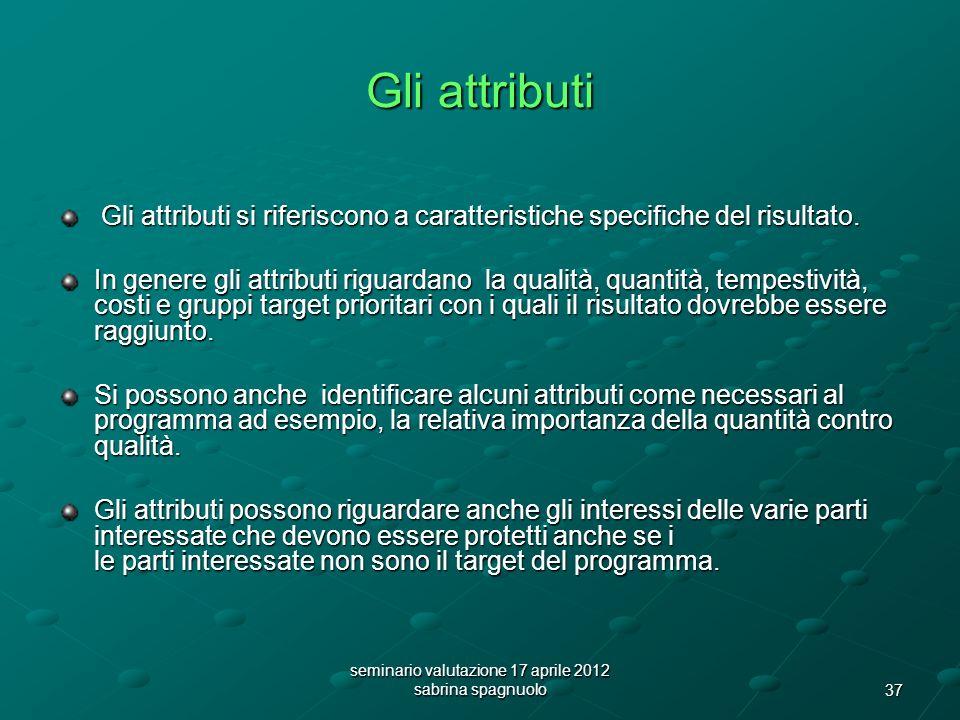 37 seminario valutazione 17 aprile 2012 sabrina spagnuolo Gli attributi Gli attributi si riferiscono a caratteristiche specifiche del risultato.
