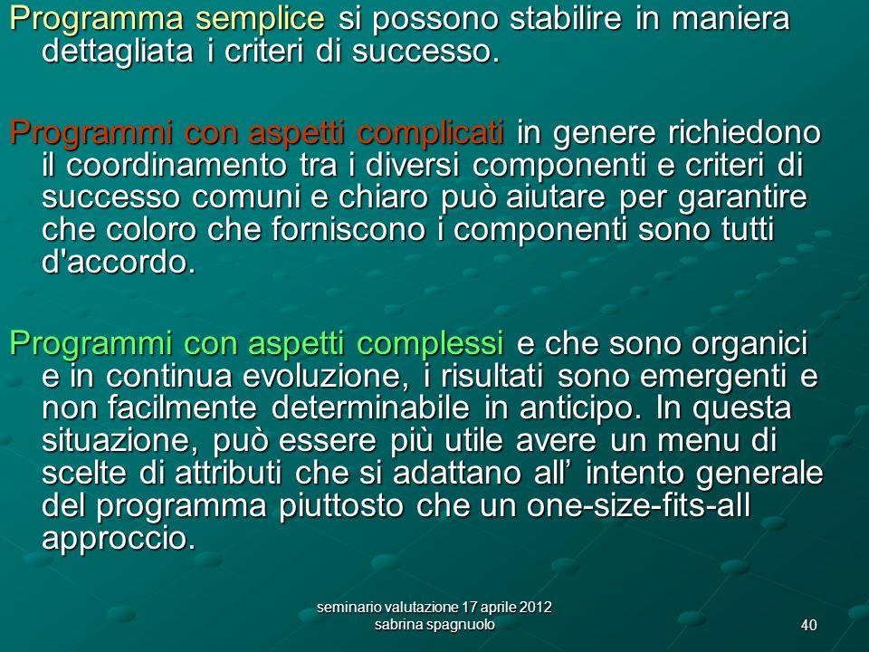 40 seminario valutazione 17 aprile 2012 sabrina spagnuolo Programma semplice si possono stabilire in maniera dettagliata i criteri di successo.