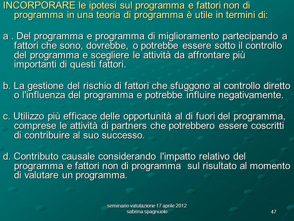 47 seminario valutazione 17 aprile 2012 sabrina spagnuolo INCORPORARE le ipotesi sul programma e fattori non di programma in una teoria di programma è utile in termini di: a.