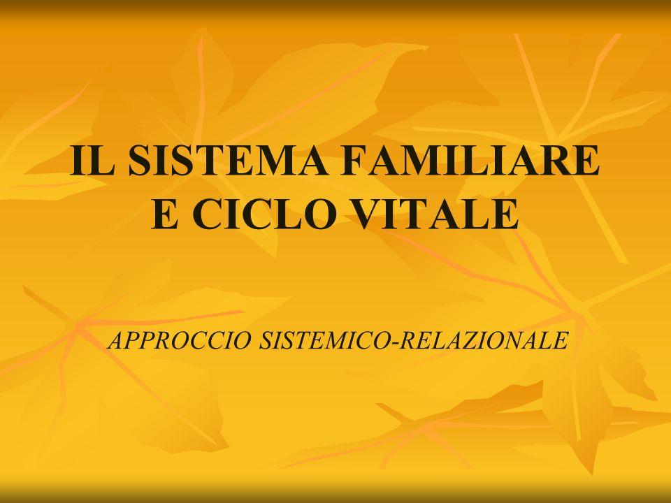 IL SISTEMA FAMILIARE E CICLO VITALE APPROCCIO SISTEMICO-RELAZIONALE