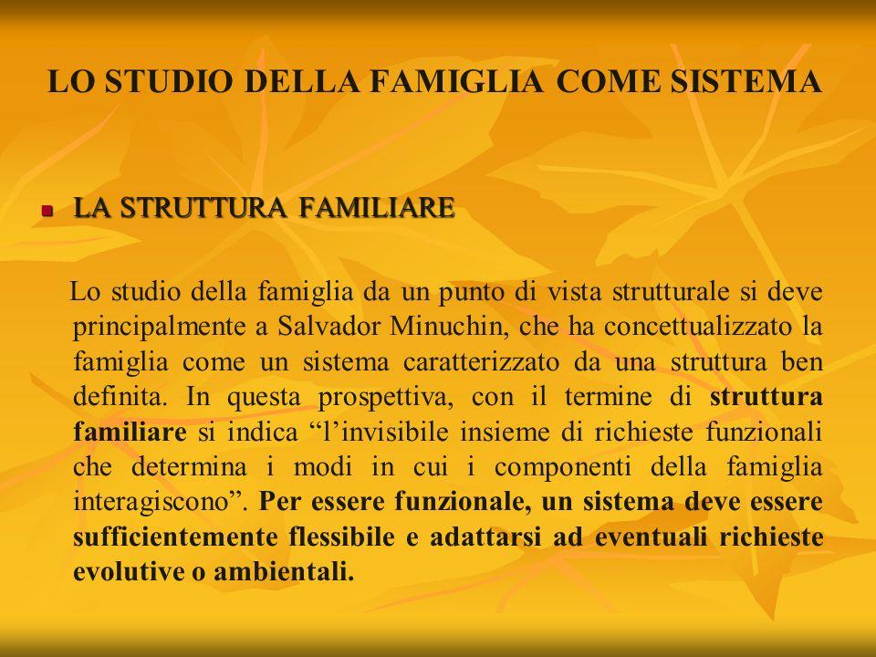 LO STUDIO DELLA FAMIGLIA COME SISTEMA LA STRUTTURA FAMILIARE LA STRUTTURA FAMILIARE Lo studio della famiglia da un punto di vista strutturale si deve