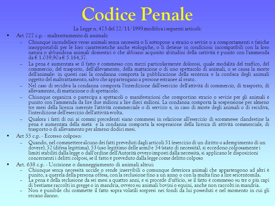 Codice Penale La Legge n. 473 del 22/11/1993 modifica i seguenti articoli: Art 727 c.p. - maltrattamento di animali: –Chiunque incrudelisce verso anim