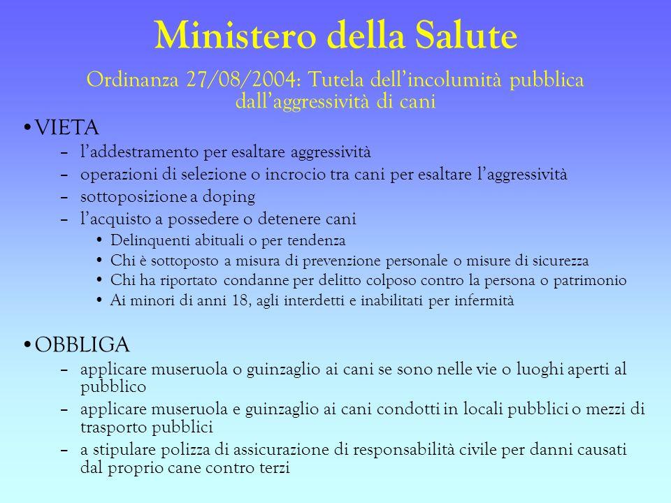 Ministero della Salute Ordinanza 27/08/2004: Tutela dellincolumità pubblica dallaggressività di cani VIETA –laddestramento per esaltare aggressività –