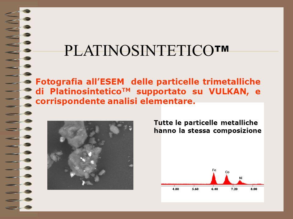 Fotografia allESEM delle particelle trimetalliche di Platinosintetico TM supportato su VULKAN, e corrispondente analisi elementare. PLATINOSINTETICO T