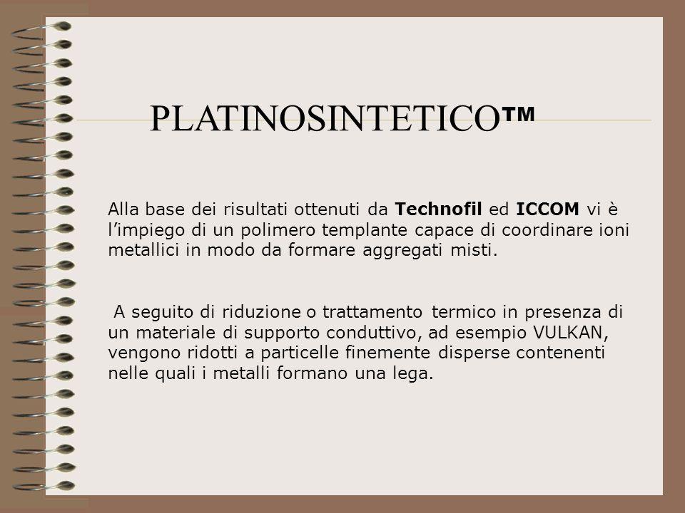 PLATINOSINTETICO TM Alla base dei risultati ottenuti da Technofil ed ICCOM vi è limpiego di un polimero templante capace di coordinare ioni metallici