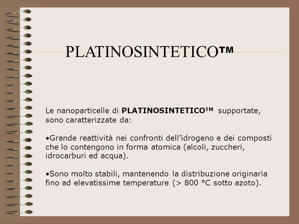 PLATINOSINTETICO TM Le nanoparticelle di PLATINOSINTETICO TM supportate, sono caratterizzate da: Grande reattività nei confronti dellidrogeno e dei co