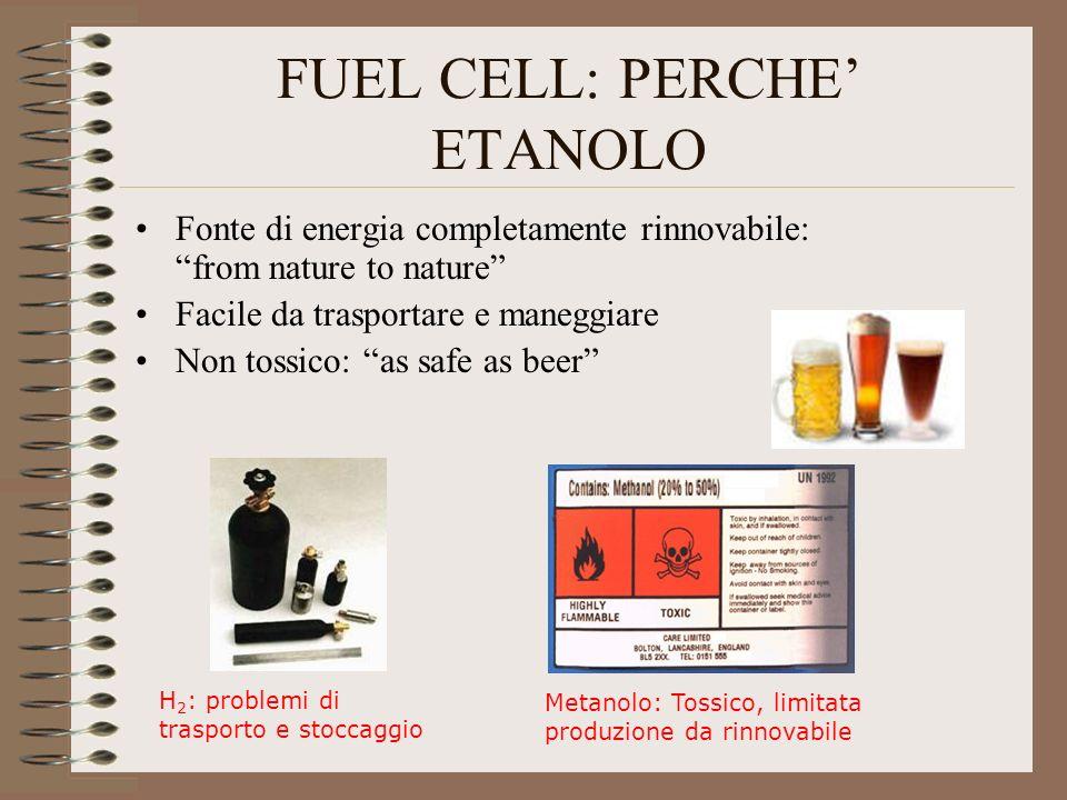 FUEL CELL: PERCHE ETANOLO Fonte di energia completamente rinnovabile: from nature to nature Facile da trasportare e maneggiare Non tossico: as safe as