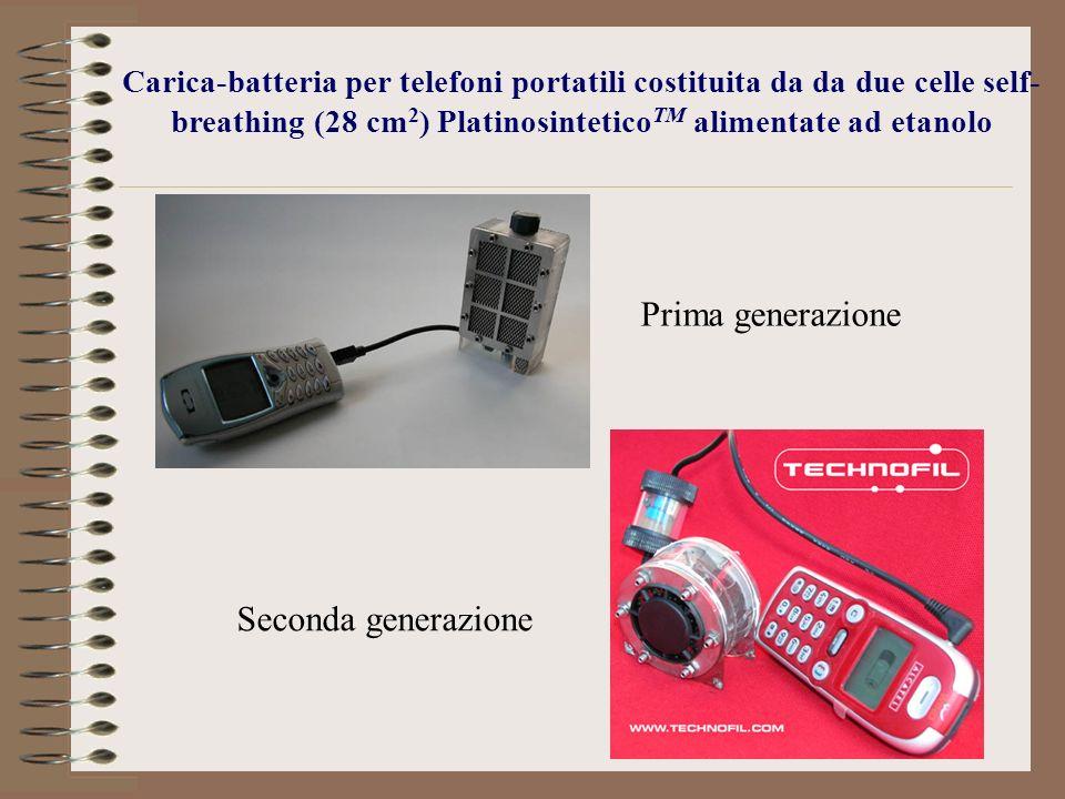 Carica-batteria per telefoni portatili costituita da da due celle self- breathing (28 cm 2 ) Platinosintetico TM alimentate ad etanolo Prima generazio