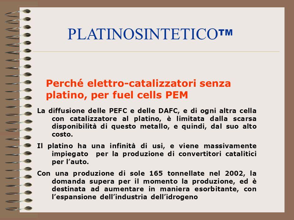Perché elettro-catalizzatori senza platino, per fuel cells PEM La diffusione delle PEFC e delle DAFC, e di ogni altra cella con catalizzatore al plati
