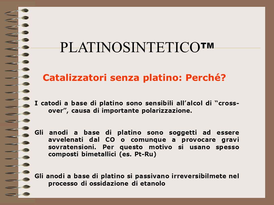 Catalizzatori senza platino: Perché? I catodi a base di platino sono sensibili allalcol di cross- over, causa di importante polarizzazione. Gli anodi