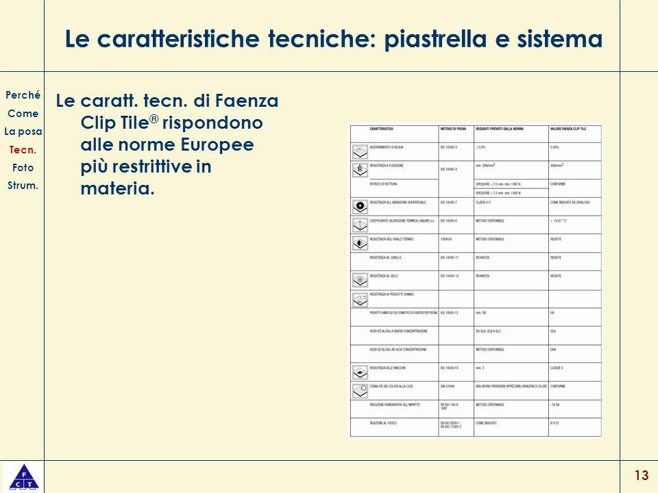 13 Le caratteristiche tecniche: piastrella e sistema Le caratt. tecn. di Faenza Clip Tile ® rispondono alle norme Europee più restrittive in materia.