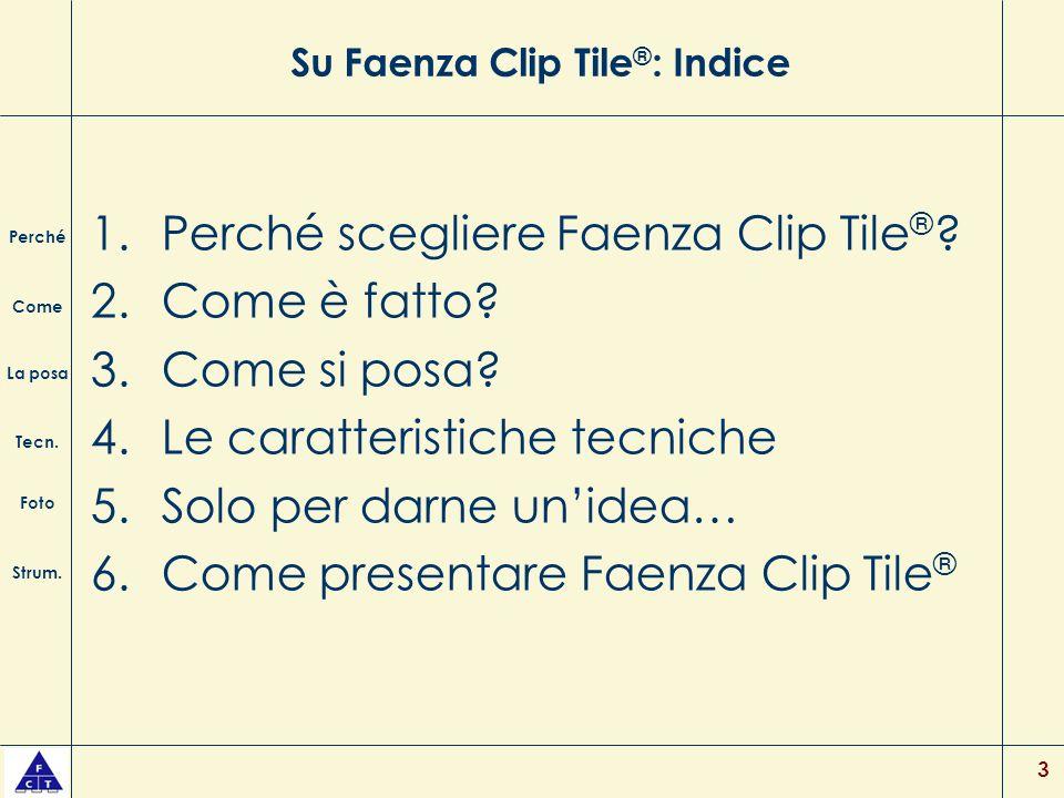 3 Su Faenza Clip Tile ® : Indice 1.Perché scegliere Faenza Clip Tile ® ? 2.Come è fatto? 3.Come si posa? 4.Le caratteristiche tecniche 5.Solo per darn