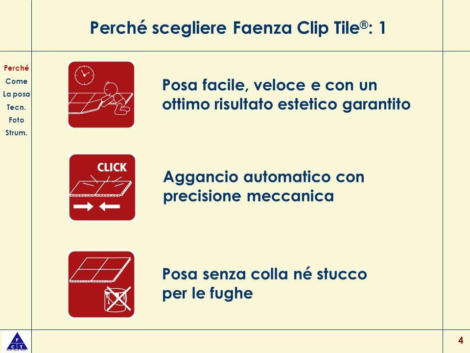 4 Perché scegliere Faenza Clip Tile ® : 1 Posa facile, veloce e con un ottimo risultato estetico garantito Posa senza colla né stucco per le fughe Per