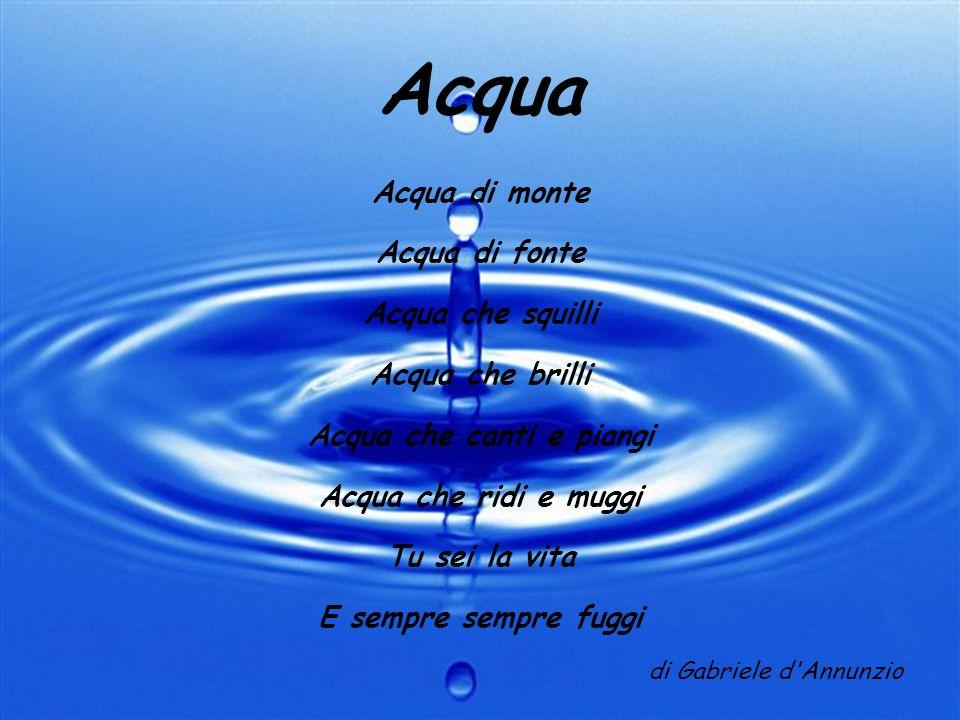 Acqua Acqua di monte Acqua di fonte Acqua che squilli Acqua che brilli Acqua che canti e piangi Acqua che ridi e muggi Tu sei la vita E sempre sempre