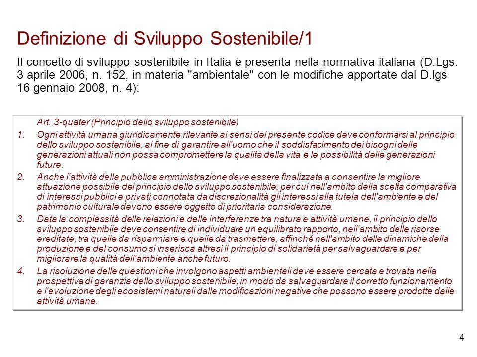 4 Definizione di Sviluppo Sostenibile/1 Art.