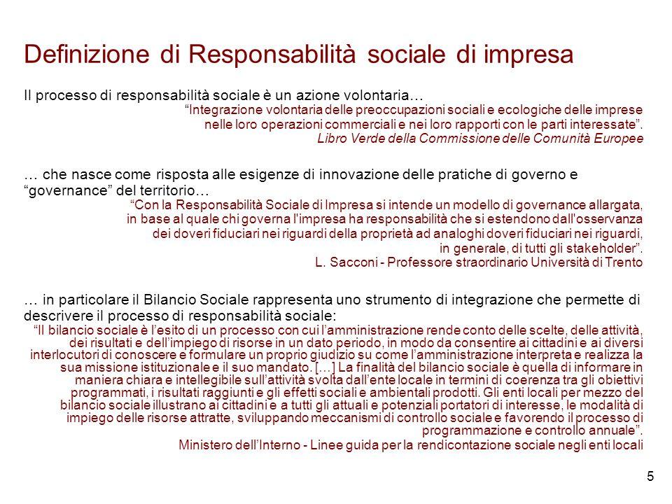 5 Definizione di Responsabilità sociale di impresa Il processo di responsabilità sociale è un azione volontaria… Integrazione volontaria delle preoccupazioni sociali e ecologiche delle imprese nelle loro operazioni commerciali e nei loro rapporti con le parti interessate.