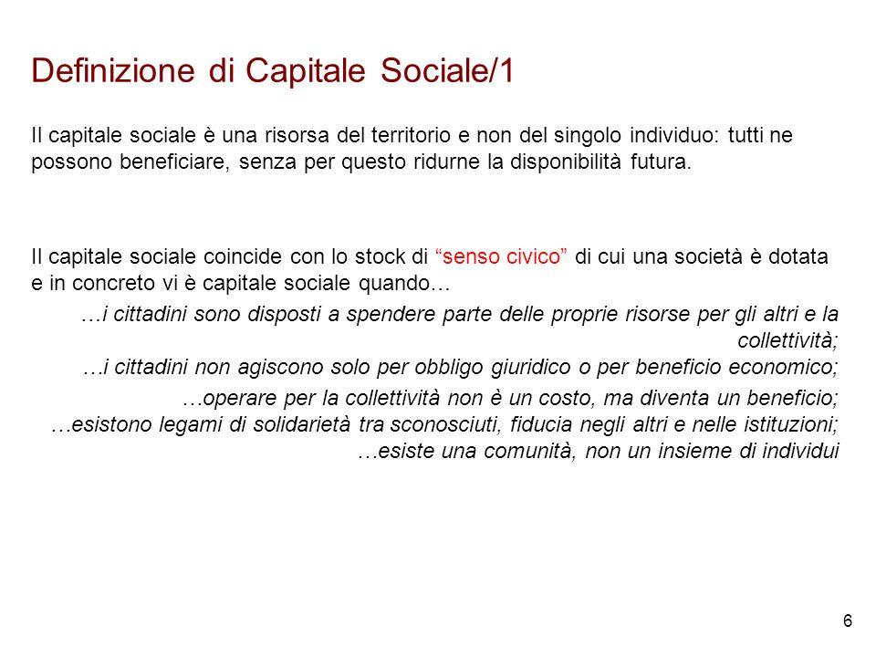 6 Definizione di Capitale Sociale/1 Il capitale sociale è una risorsa del territorio e non del singolo individuo: tutti ne possono beneficiare, senza per questo ridurne la disponibilità futura.