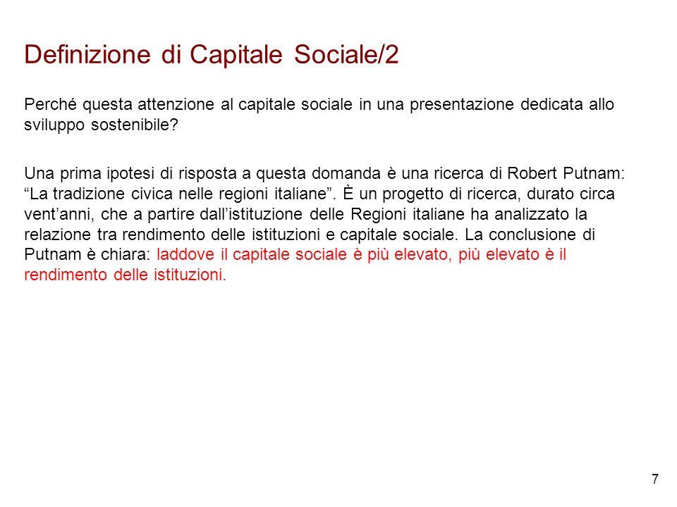 7 Definizione di Capitale Sociale/2 Perché questa attenzione al capitale sociale in una presentazione dedicata allo sviluppo sostenibile.