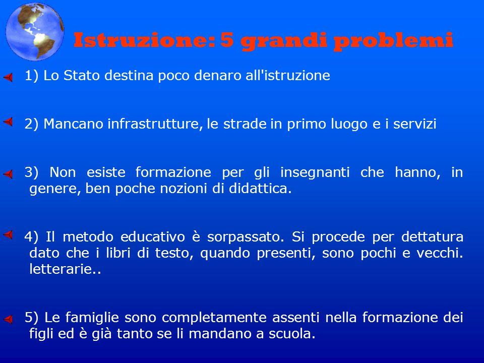 1) Lo Stato destina poco denaro all'istruzione 2) Mancano infrastrutture, le strade in primo luogo e i servizi 3) Non esiste formazione per gli insegn