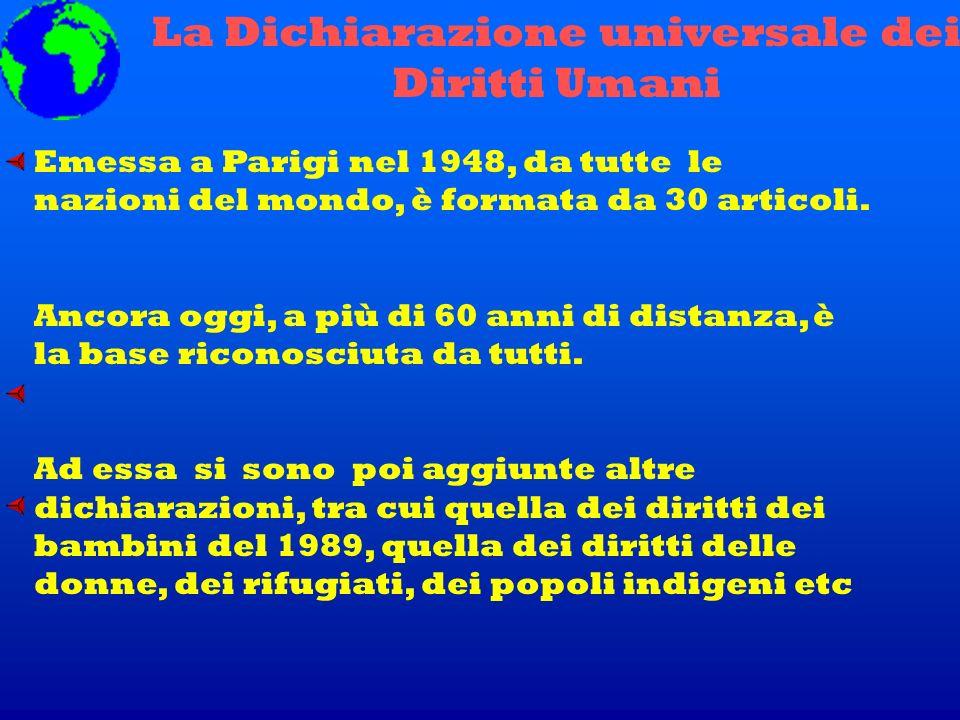 La Dichiarazione universale dei Diritti Umani Emessa a Parigi nel 1948, da tutte le nazioni del mondo, è formata da 30 articoli. Ancora oggi, a più di