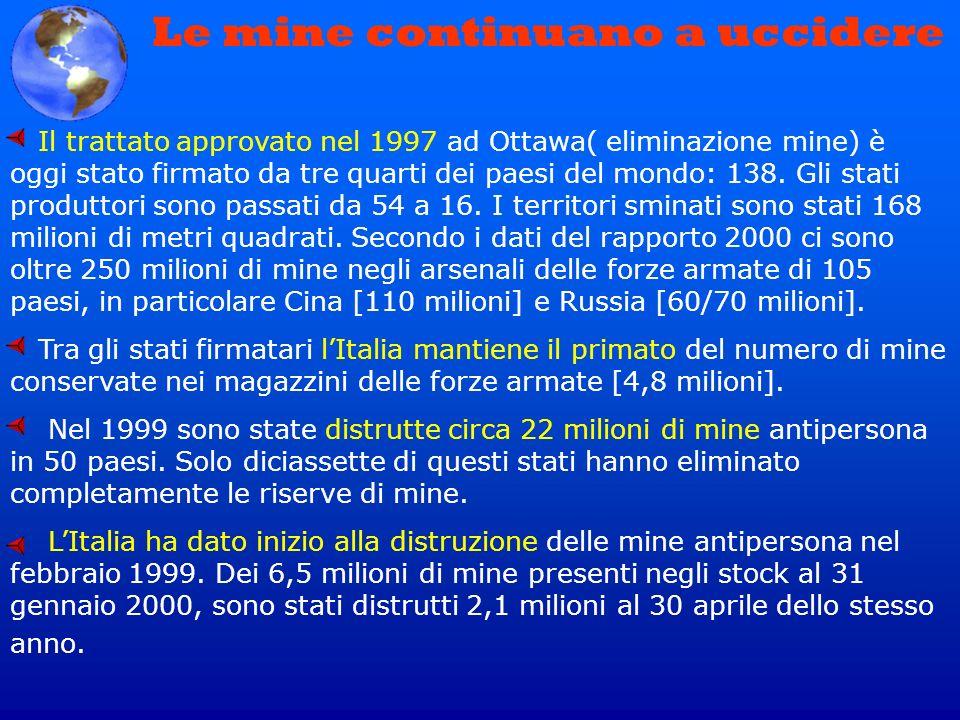 Le mine continuano a uccidere Il trattato approvato nel 1997 ad Ottawa( eliminazione mine) è oggi stato firmato da tre quarti dei paesi del mondo: 138