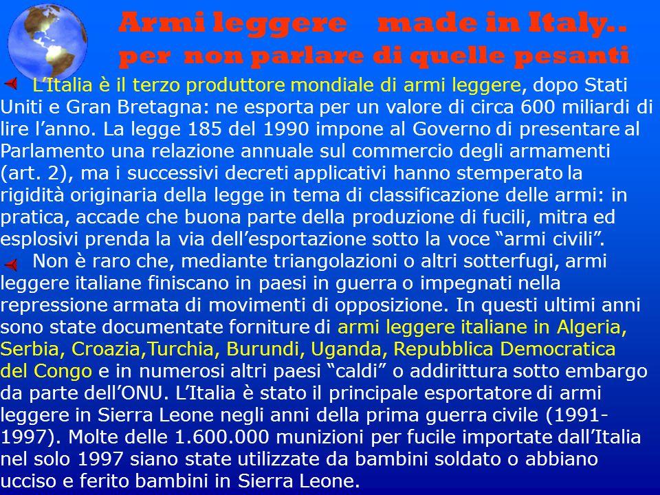 Armi leggere made in Italy.. per non parlare di quelle pesanti LItalia è il terzo produttore mondiale di armi leggere, dopo Stati Uniti e Gran Bretagn