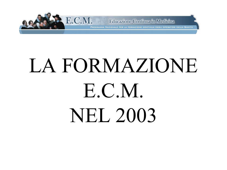 LA FORMAZIONE E.C.M. NEL 2003