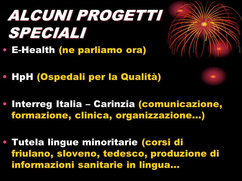 ALCUNI PROGETTI SPECIALI E-Health (ne parliamo ora) HpH (Ospedali per la Qualità) Interreg Italia – Carinzia (comunicazione, formazione, clinica, orga