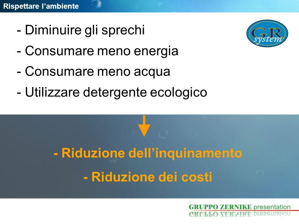 - Riduzione dellinquinamento - Riduzione dei costi Rispettare lambiente - Diminuire gli sprechi - Consumare meno energia - Consumare meno acqua - Util