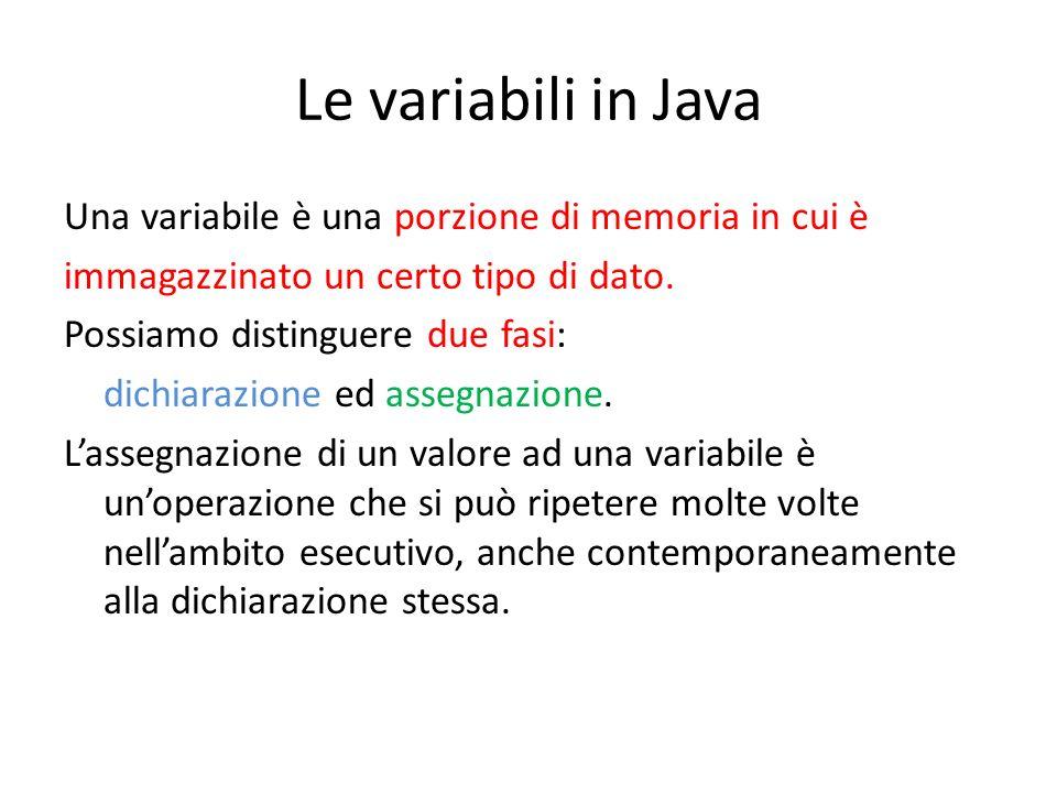 Le variabili in Java Una variabile è una porzione di memoria in cui è immagazzinato un certo tipo di dato. Possiamo distinguere due fasi: dichiarazion