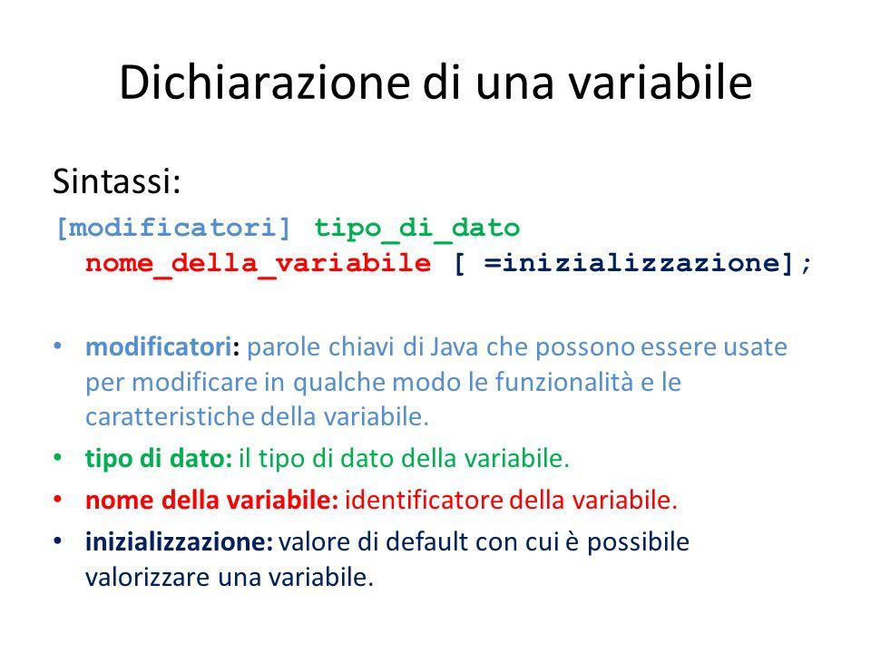 Dichiarazione di una variabile Sintassi: [modificatori] tipo_di_dato nome_della_variabile [ =inizializzazione]; modificatori: parole chiavi di Java ch