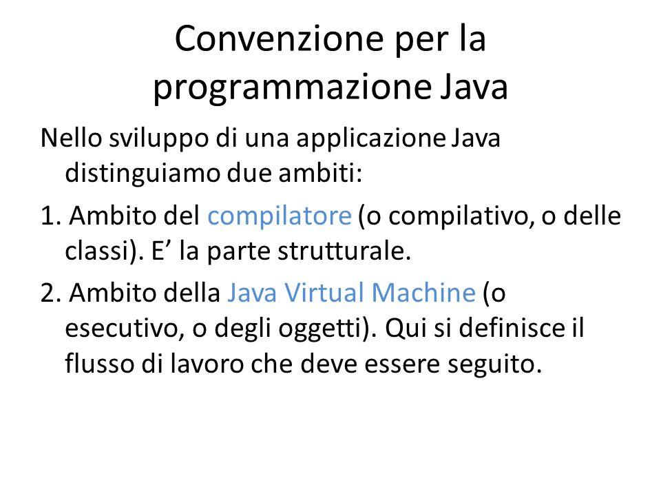 Convenzione per la programmazione Java Nello sviluppo di una applicazione Java distinguiamo due ambiti: 1. Ambito del compilatore (o compilativo, o de